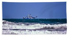 Beach Sheet featuring the photograph Rough Seas Shrimping by DigiArt Diaries by Vicky B Fuller