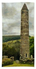 Beach Towel featuring the painting Round Tower At Glendalough by Jeff Kolker