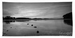Round Valley At Dawn Bw Beach Towel