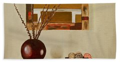 Beach Towel featuring the painting Round Vase by Laura Forde