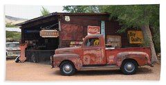 Route 66 Garage And Pickup Beach Sheet by Frank Romeo