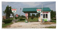 Route 66 Gas Station With Sponge Painting Effect Beach Sheet