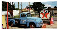Route 66 - Gas Station With Watercolor Effect Beach Towel
