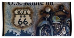 Route 66 Odell Il Gas Station Motorcycle Signage Beach Towel by Thomas Woolworth