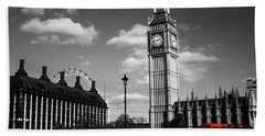 Routemaster Bus On Black And White Background Beach Sheet