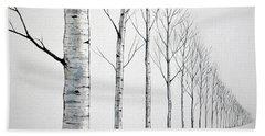Row Of Birch Trees In The Snow Beach Towel