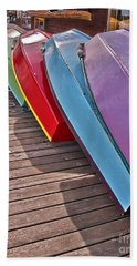 Beach Sheet featuring the photograph Row Of Colorful Boats Art Prints by Valerie Garner