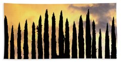 Row Of Cypress Trees Silhouetted Beach Towel