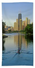 Rower On Chicago River With Skyline Beach Towel