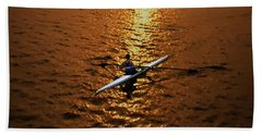 Rowing Into The Sunset Beach Towel