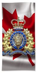 Royal Canadian Mounted Police - Rcmp Badge Over Waving Flag Beach Towel