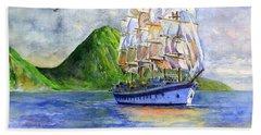 Royal Clipper Leaving St. Lucia Beach Towel