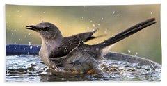 Rub-a-dub-dub Mockingbird Beach Towel by Nava Thompson