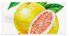 Ruby Red Grapefruit Beach Towel by Irina Sztukowski