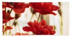 Ruby Red Poppy Flowers Beach Towel