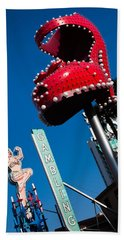 Ruby Slipper Neon Sign In A City, El Beach Towel