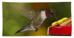 Ruby-throat Hummer Sipping Beach Towel