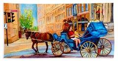 Beach Sheet featuring the painting Rue Notre Dame Caleche Ride by Carole Spandau