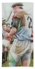 Rugby Match Harlequins V Northampton, Brian Moore At The Line Out, 1992 Wc Beach Towel