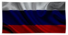 Russian Flag Waving On Canvas Beach Sheet