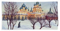 Russian Winter Beach Towel by Tilly Willis