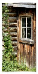 Rustic Cabin Window Beach Towel