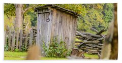Rustic Fence And Outhouse Beach Towel