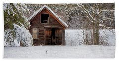 Rustic Shack In Snow Beach Sheet