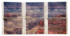 Rustic Window View Into The Grand Canyon Beach Towel