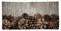 Rustic Wood With Pine Cones Beach Sheet