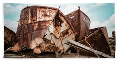 Beach Towel featuring the photograph Rusty Boat Hulls - Nautical Vessels by Gary Heller