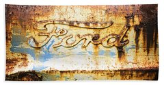 Rusty Old Ford Closeup Beach Sheet by Edward Fielding