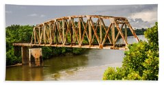 Beach Towel featuring the photograph Rusty Old Railroad Bridge by Sue Smith