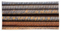 Rusty Rebar Rods Metallic Pattern Beach Towel