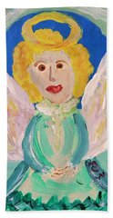 Beach Sheet featuring the painting Ruth E. Angel by Mary Carol Williams