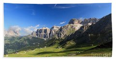 Saas Pordoi And Fassa Valley Beach Sheet by Antonio Scarpi