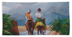 Sabanero And Wife Crossing A River Beach Sheet