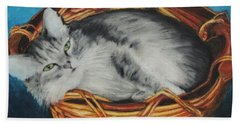 Sabrina In Her Basket Beach Towel by Jeanne Fischer