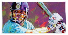 Sachin Tendulkar Beach Towel by Maria Arango