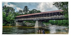 Beach Towel featuring the photograph Saco River Covered Bridge  by Debbie Green