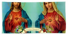 Sacred Heart Immaculate Heart  Beach Sheet by Movie Poster Prints