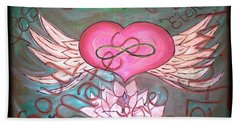 Sacred Soulmates And Twin Flames Beach Towel by Absinthe Art By Michelle LeAnn Scott
