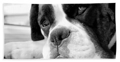 Sad Boxer Dog Beach Towel by Mike Taylor