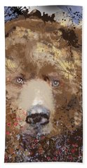 Beach Towel featuring the digital art Sad Brown Bear by Kim Prowse