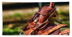Saddle In Waiting Western Saddle Horse Beach Towel