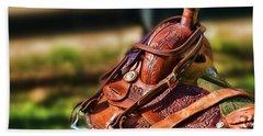 Saddle In Waiting Western Saddle Horse Beach Sheet
