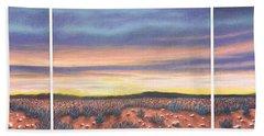 Sagebrush Sunset Triptych Beach Sheet