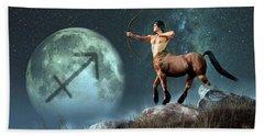 Sagittarius Zodiac Symbol Beach Towel by Daniel Eskridge