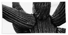 Saguaro Cactus Black And White 3 Beach Sheet
