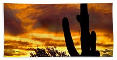 Saguaro Silhouette  Beach Sheet by Robert Bales
